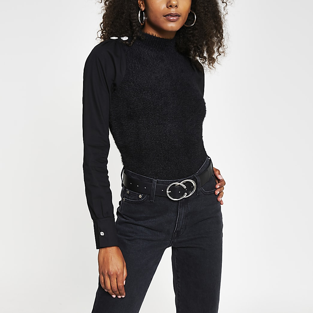 Black long sleeve button detail knitted top