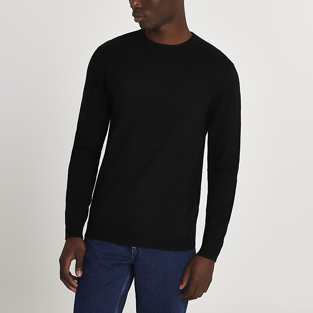 Black long sleeve cashmere blend jumper