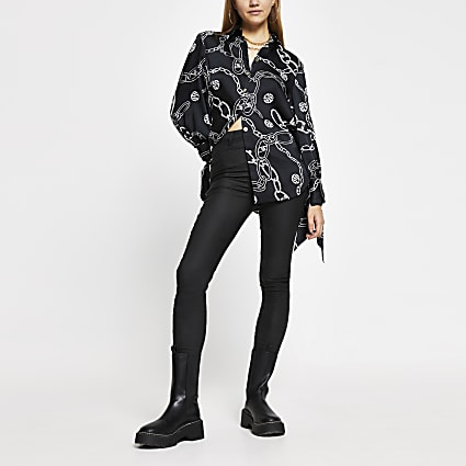 Black long sleeve chain print shirt