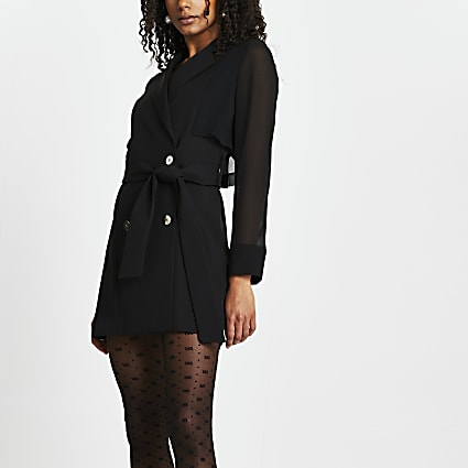 Black long sleeve chiffon blazer dress