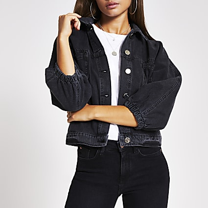 Black long sleeve cinched waist denim jacket