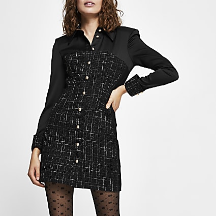 Black long sleeve contrast boucle shirt dress