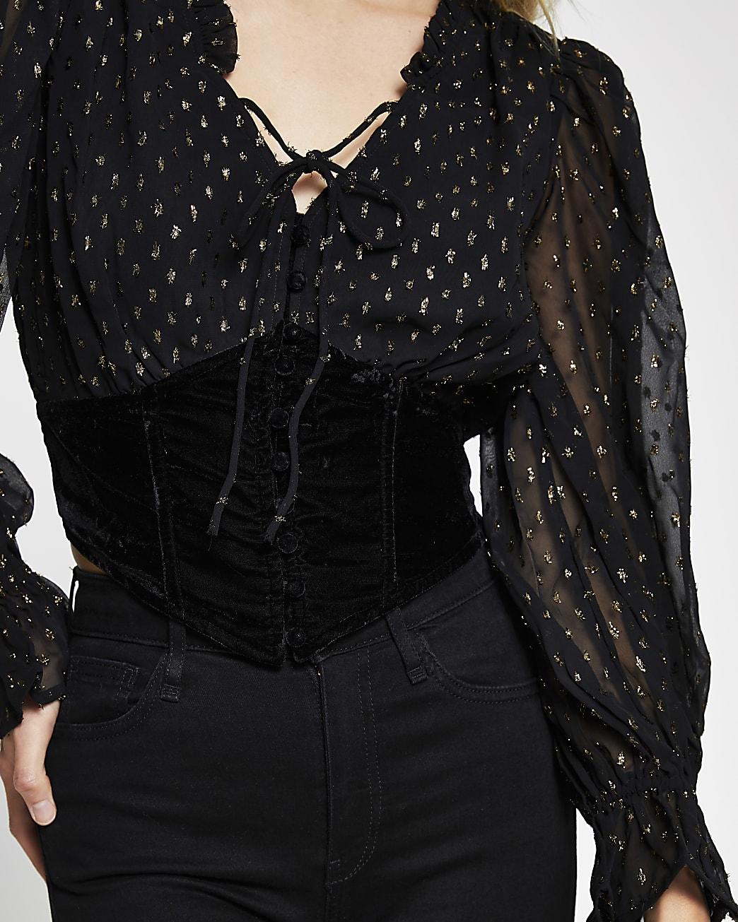 Black long sleeve corset lurex blouse top
