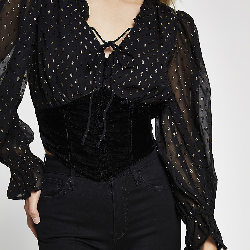 Black long sleeve corset lurex blouse top