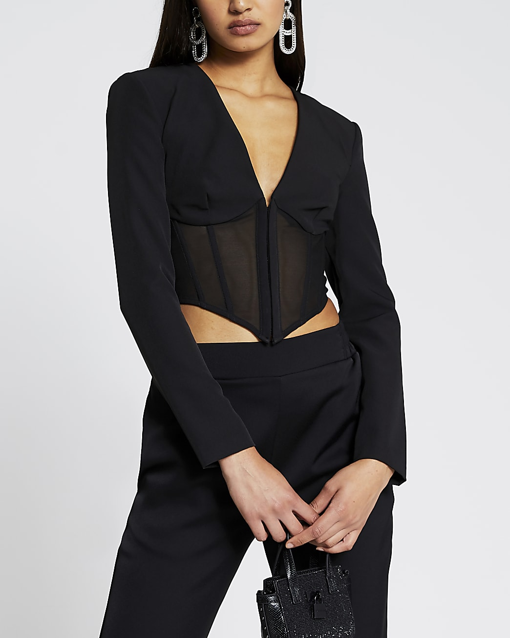 Black long sleeve corset mesh top