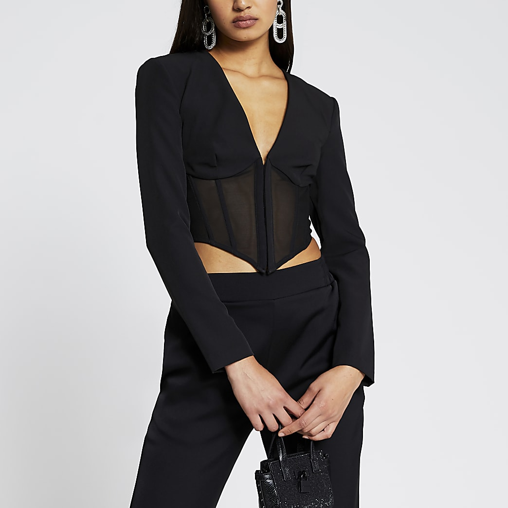Black long sleeve corset mesh top