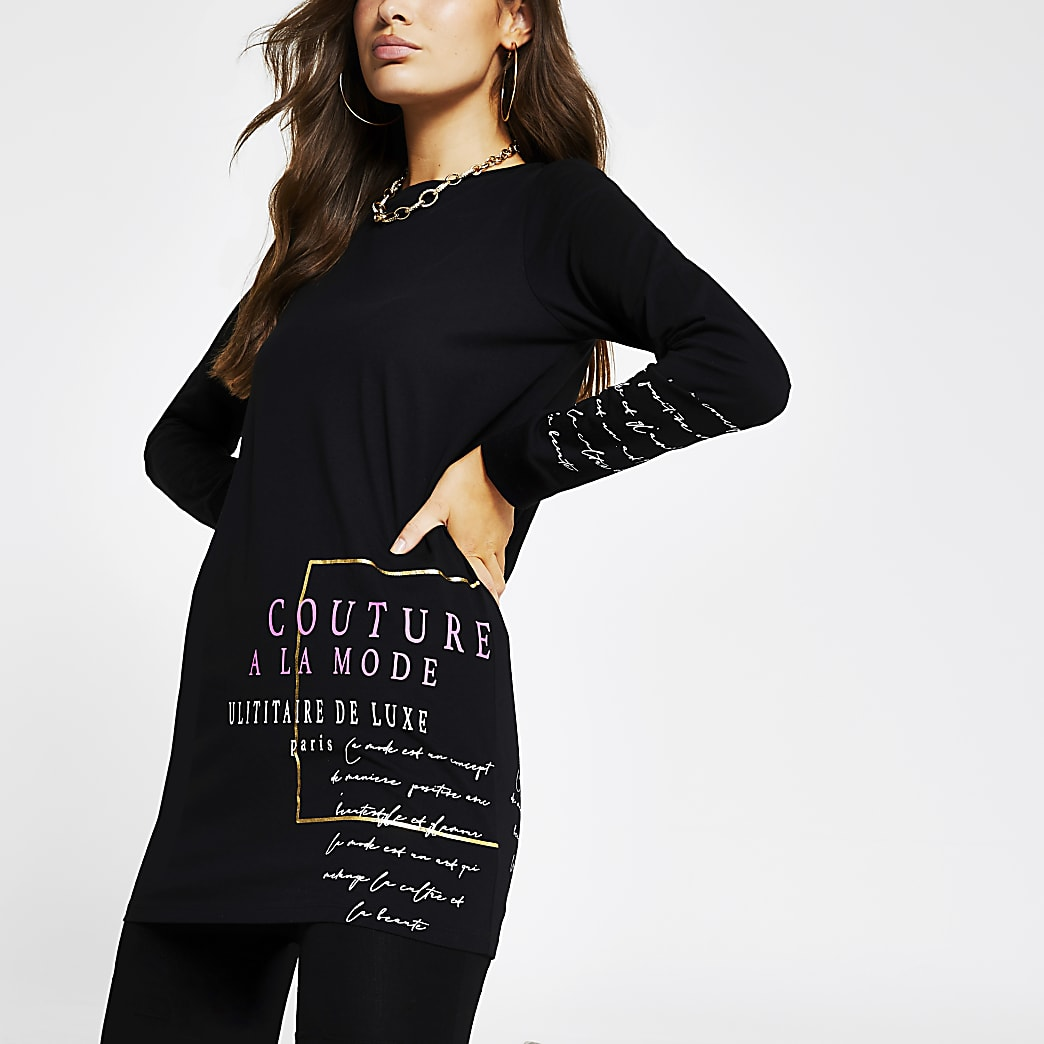 Black long sleeve 'Couture' long line top
