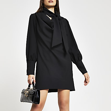 Black long sleeve cowl neck shift dress