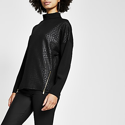Black long sleeve croc embossed top