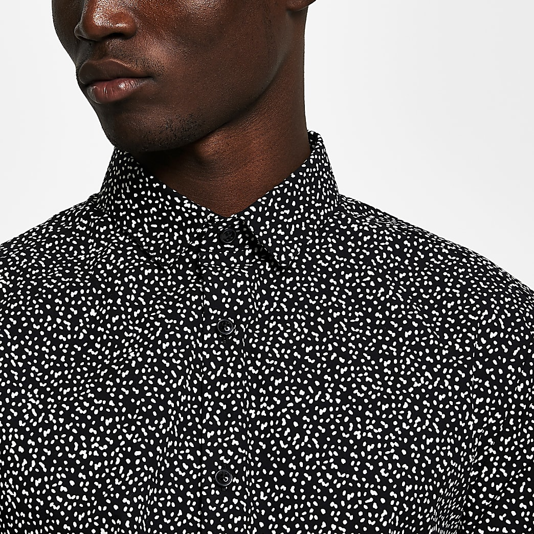 Black long sleeve dot print slim fit shirt