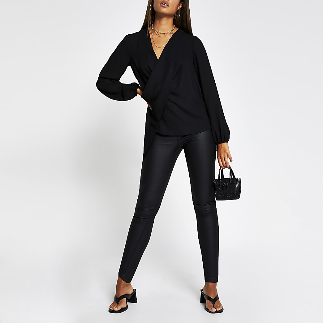 Black long sleeve drape front blouse