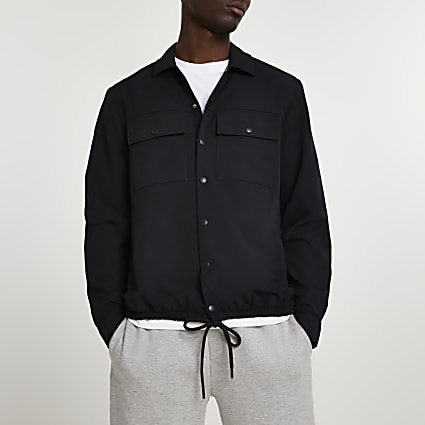 Black long sleeve drawcord hem shirt