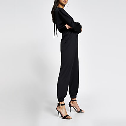 Black long sleeve elasticated waist jumpsuit