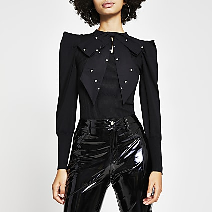 Black long sleeve embellished bow top
