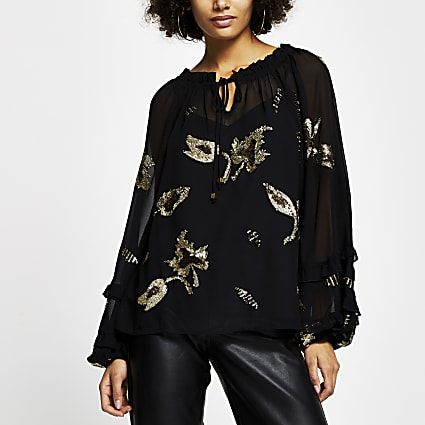 Black long sleeve embellished tie neck blouse
