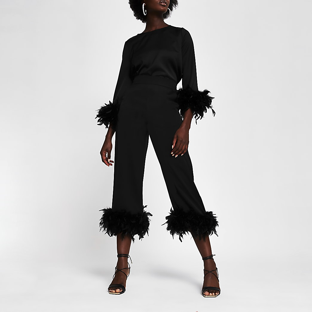 Black Long Sleeve Feather Cuff Top