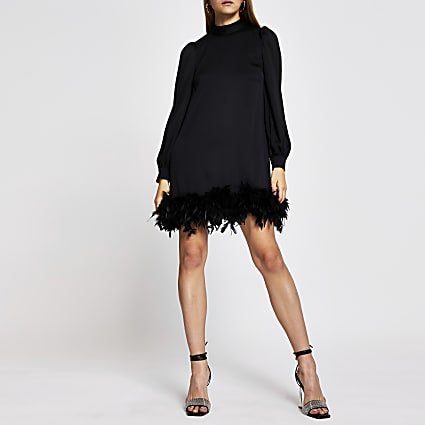 Black long sleeve feather swing mini dress