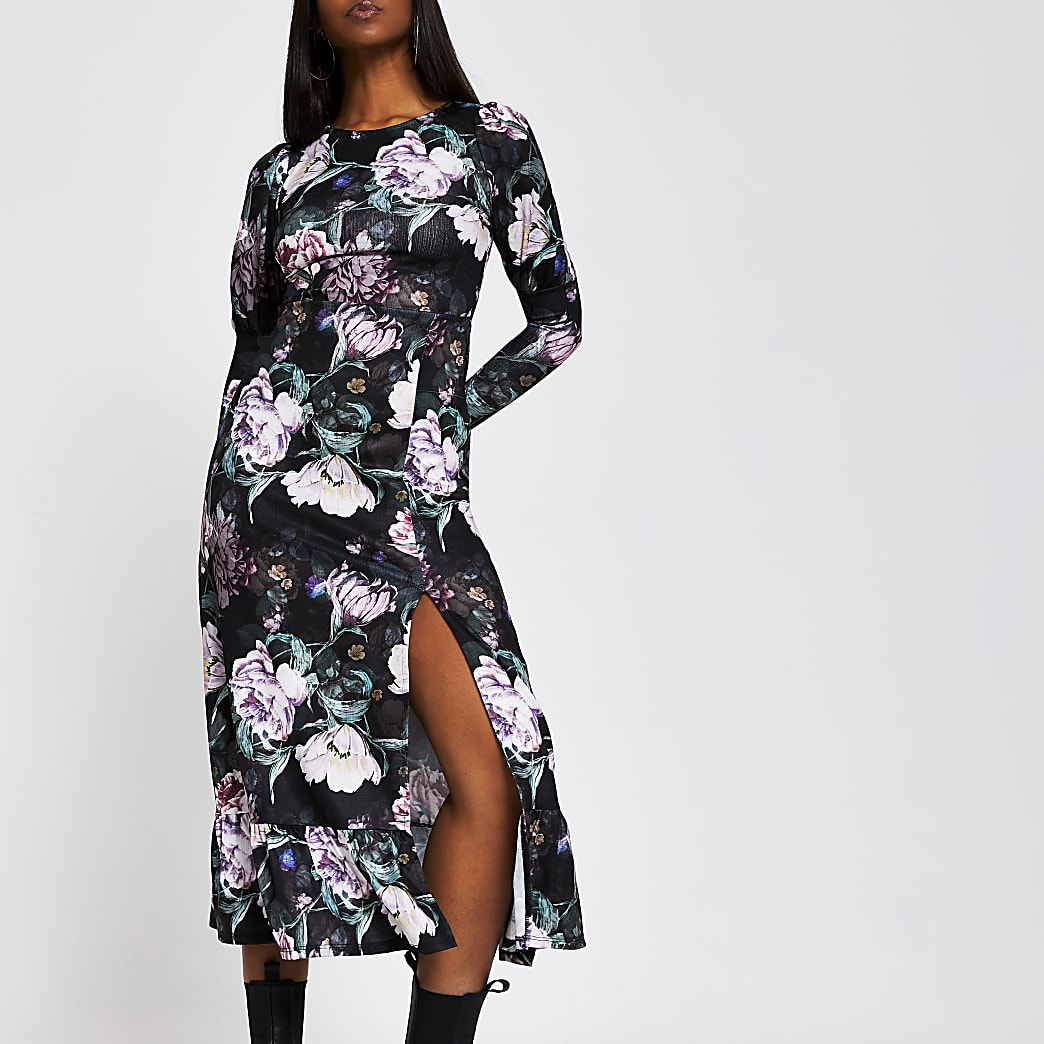 Black long sleeve floral midi dress
