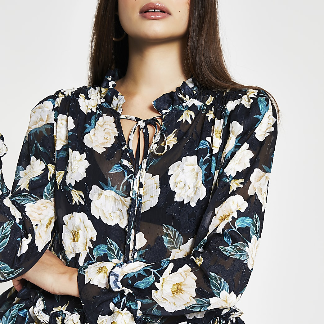 Black long sleeve floral peplum blouse top
