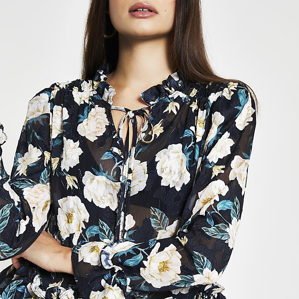 Black long sleeve floral peplum blouse top