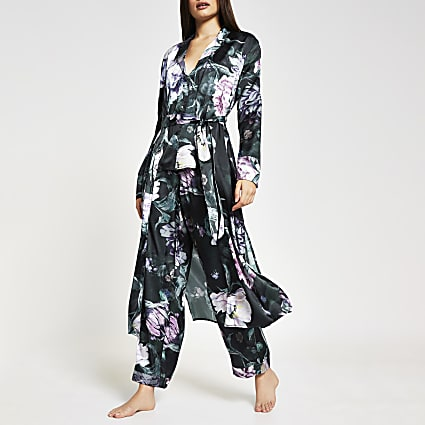 Black long sleeve floral print satin robe