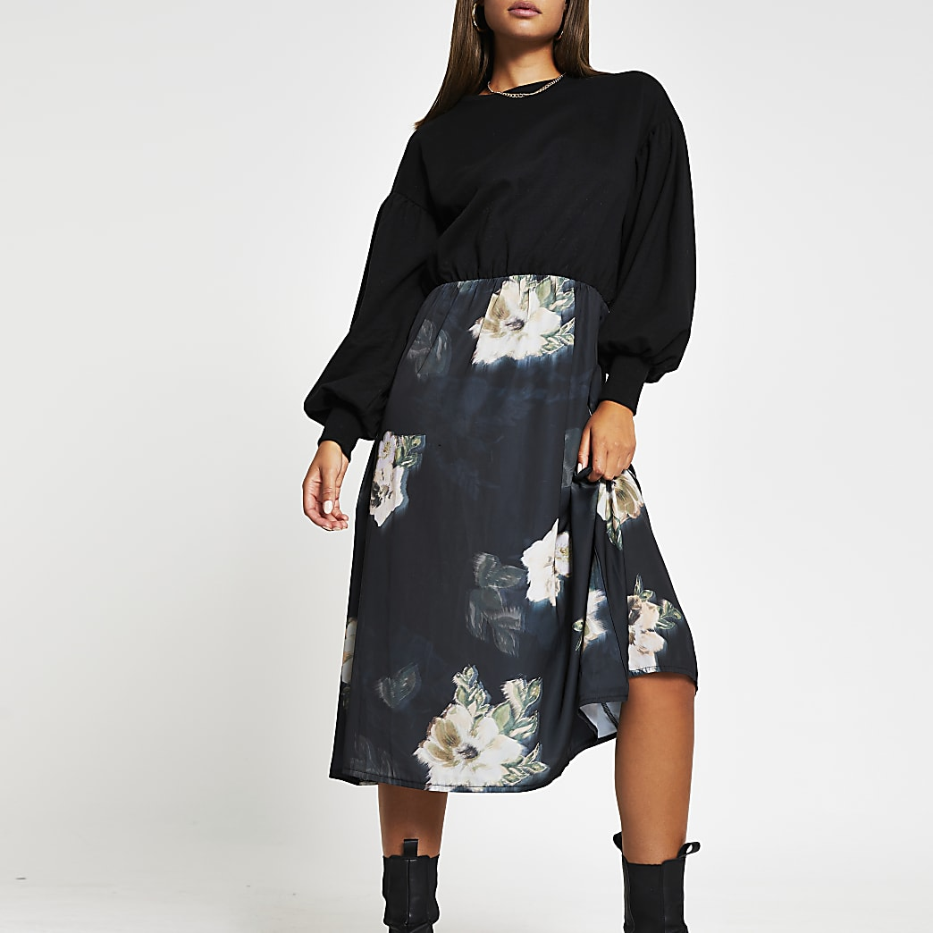 Black long sleeve floral print sweat dress