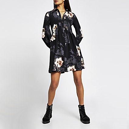 Black long sleeve floral smock mini dress