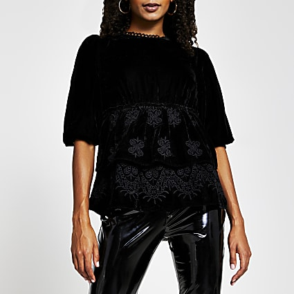 Black long sleeve frill hem blouse