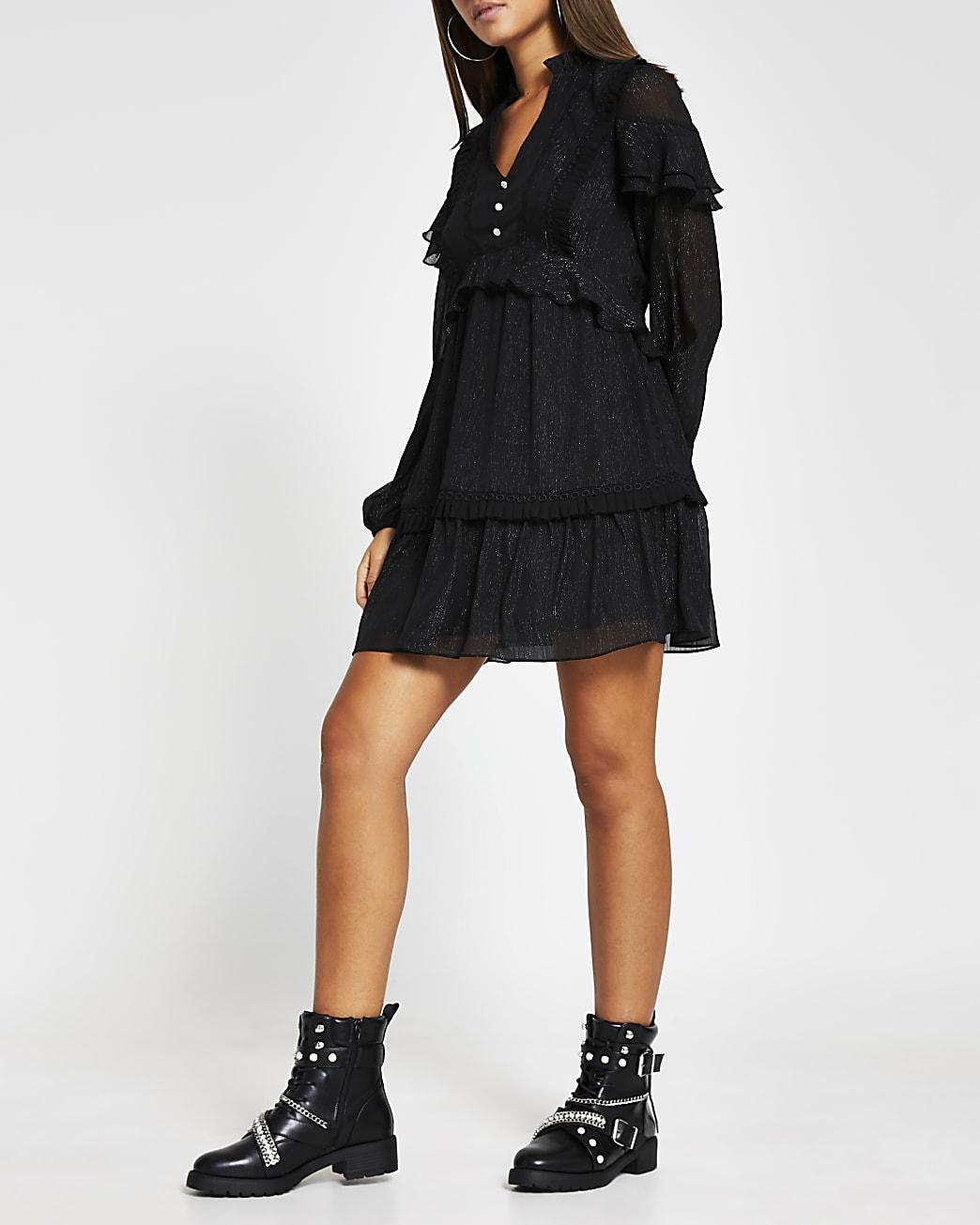 Black long sleeve frill trim mini dress