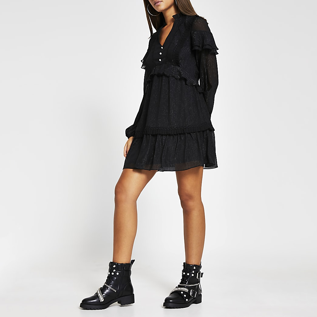 Black long sleeve frill trim mini dress