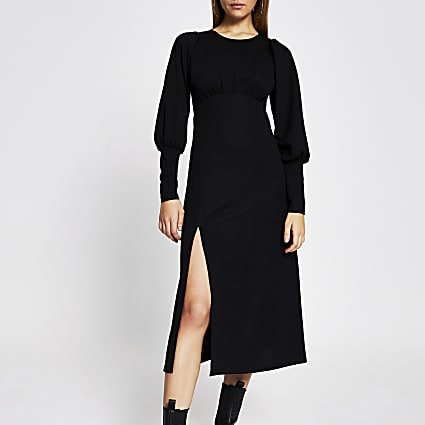 Black long sleeve front split midi dress
