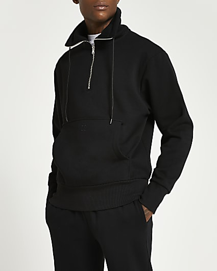 Black long sleeve funnel neck sweatshirt