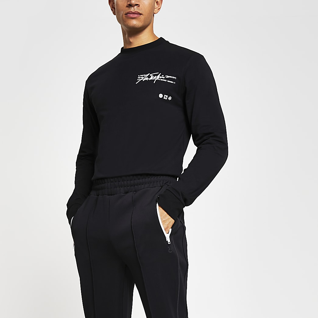 Black long sleeve graphic print T-shirt