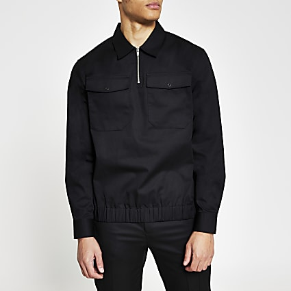 Black long sleeve half zip 2 pocket overshirt