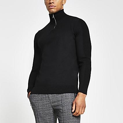 Black long sleeve half zip funnel neck jumper
