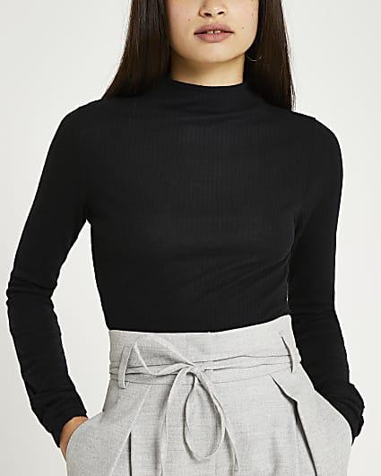 Black long sleeve high neck ribbed top