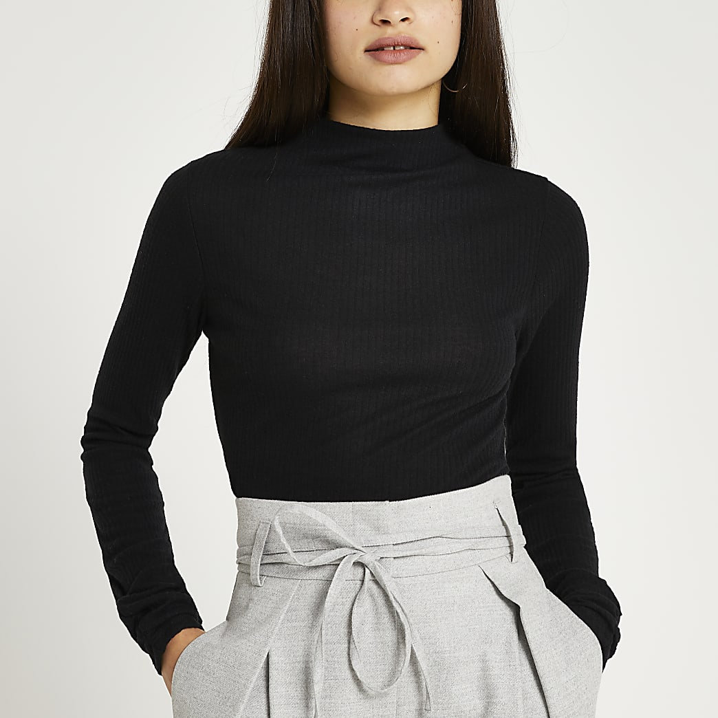 Black long sleeve high neck ribbed top