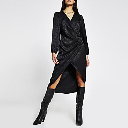 Black long sleeve jacquard wrap button dress