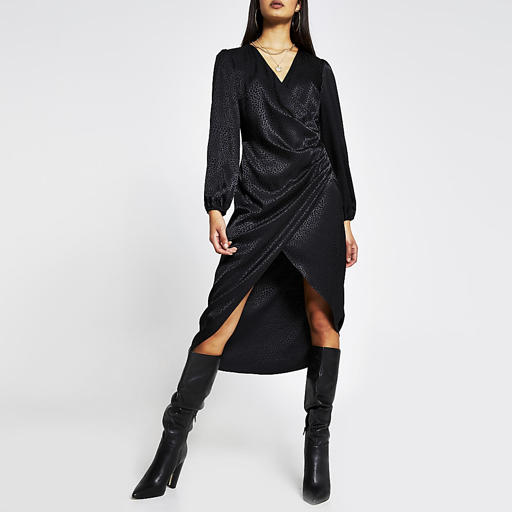 Black long sleeve jacquard wrap button dress