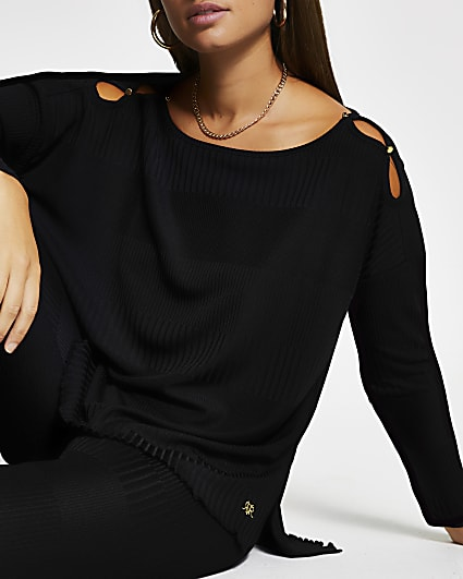Black long sleeve keyhole detail top