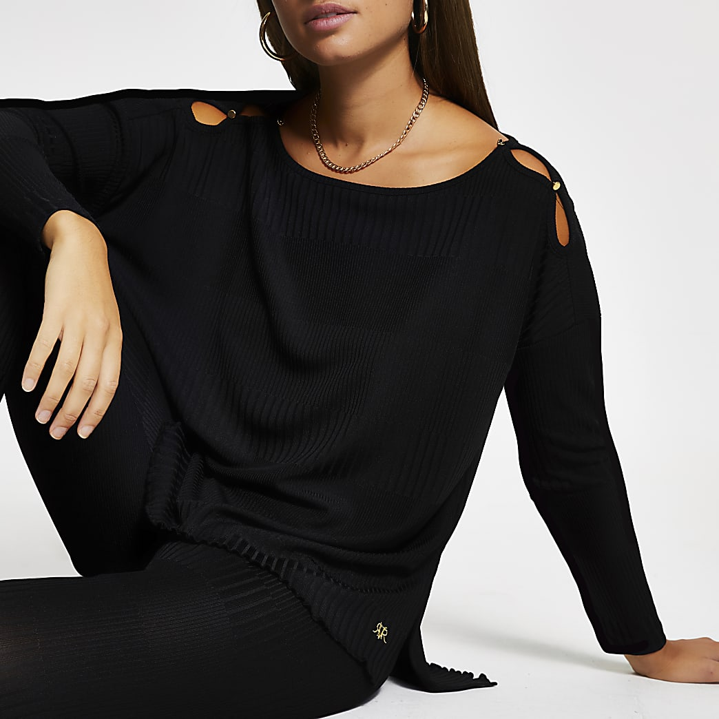 Black long sleeve keyhole detail top