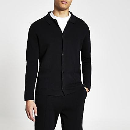 Black long sleeve knitted overshirt
