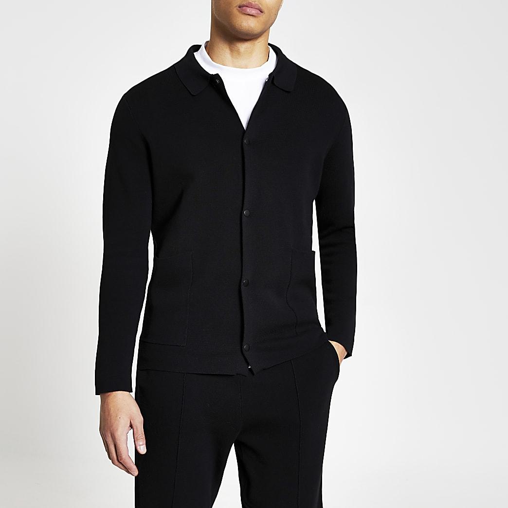 Black long sleeve knitted shacket