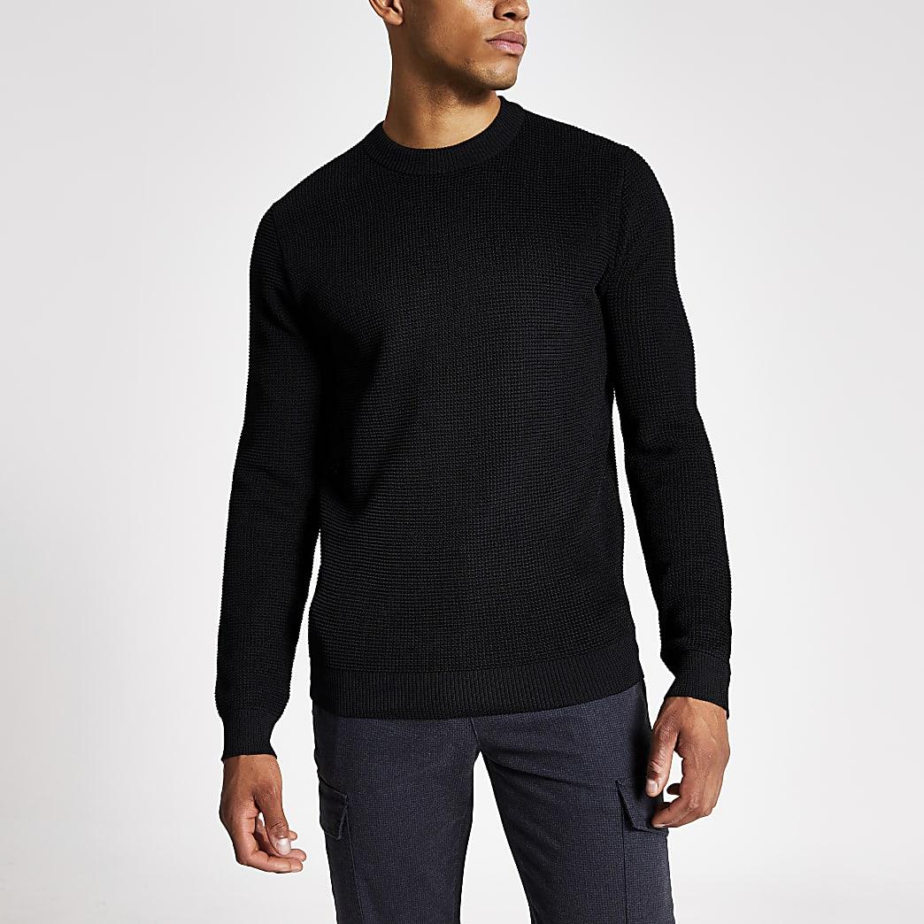 Zwarte gebreide slim-fit pullover met lange mouwen