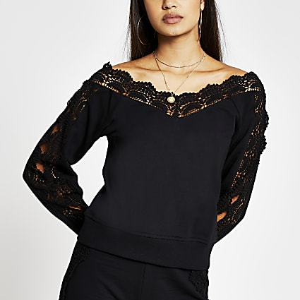 Black long sleeve lace bardot sweatshirt