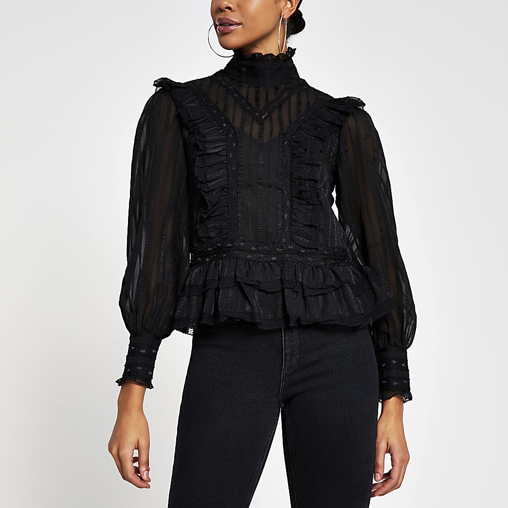 Black long sleeve lace frill blouse top