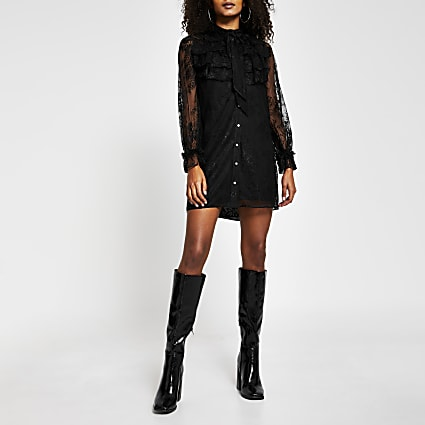 Black long sleeve lace frill dress