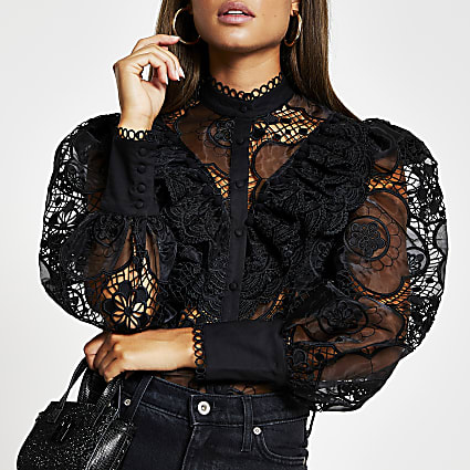 Black long sleeve lace frill shirt