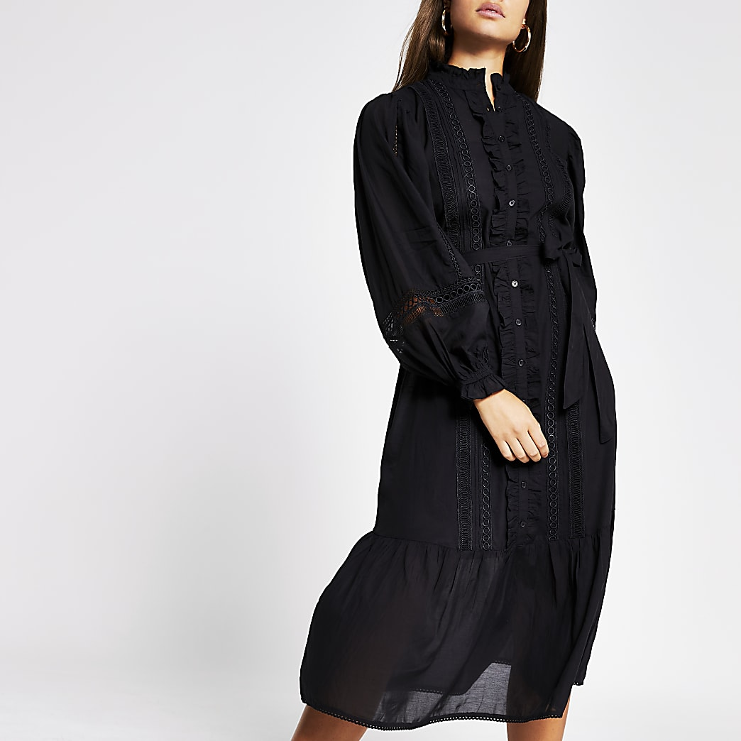 Black long sleeve lace insert midi dress