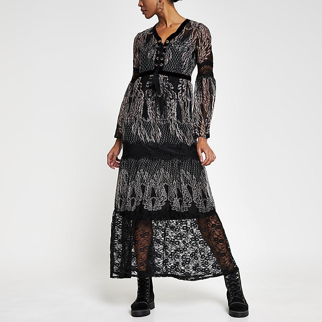 Black long sleeve lace layer midi dress